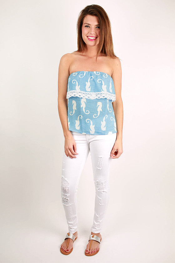 In Love With The Sea Strapless Top in Blue