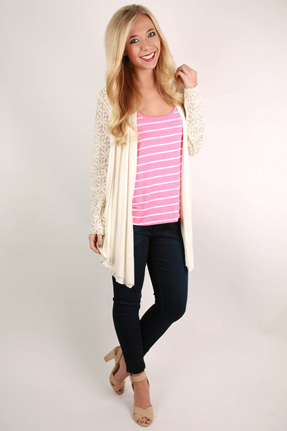 Kissing In The Moonlight Cardigan in Ivory