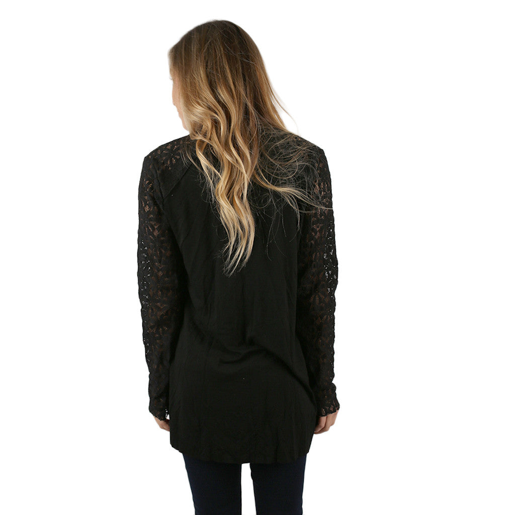 Kissing In The Moonlight Cardigan in Black