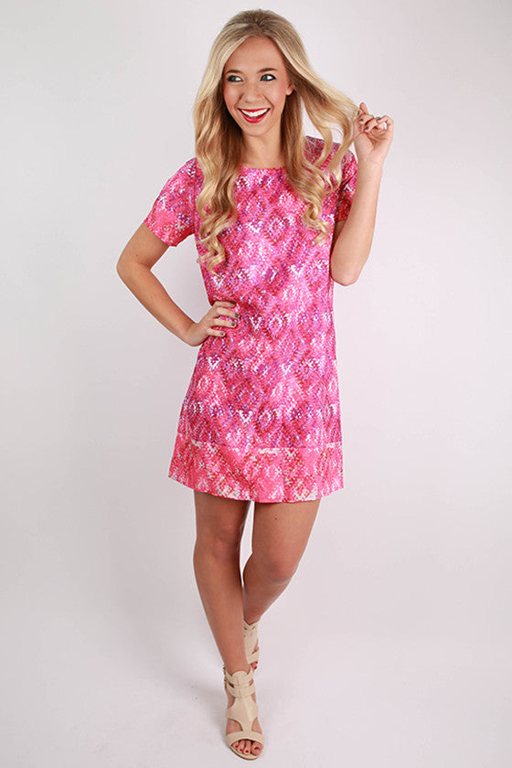 Sunset Meeting Shift Dress in Pink