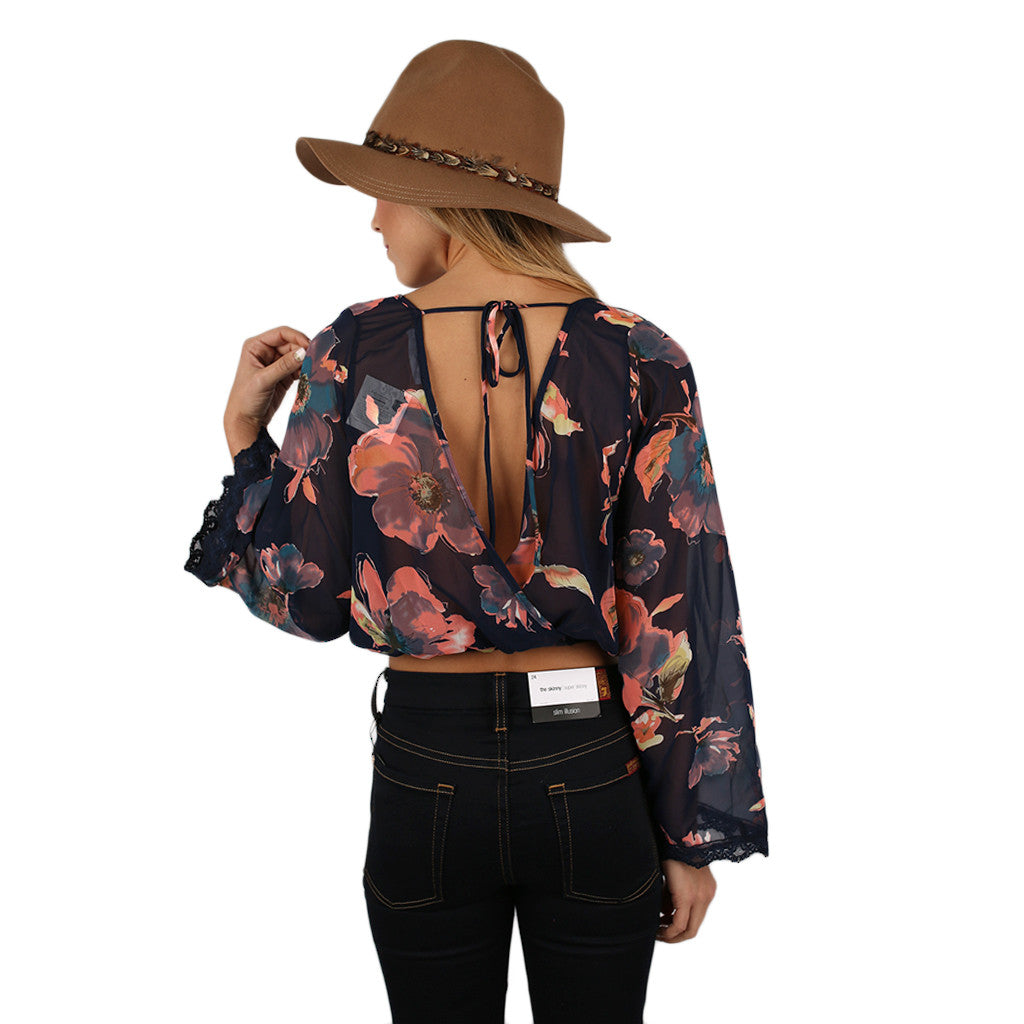 Floral Frenzy Top Navy