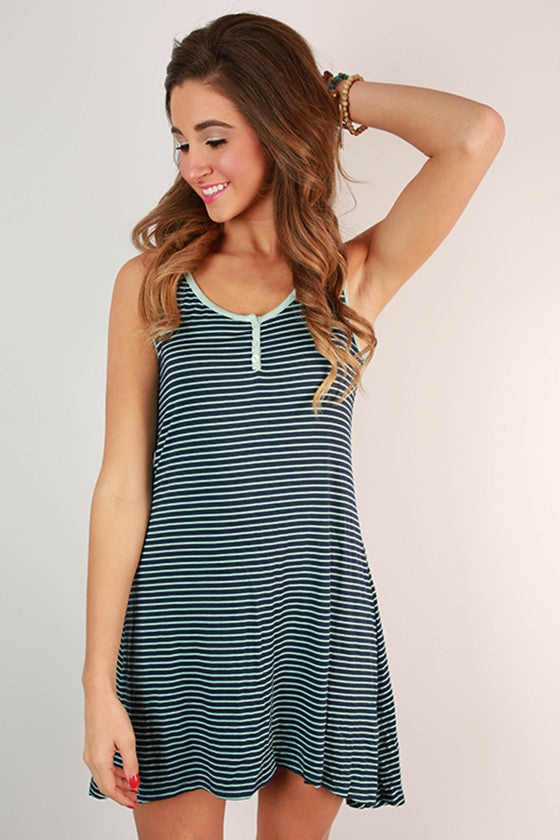 Natural Beauty Stripe Tank Dress in Blue