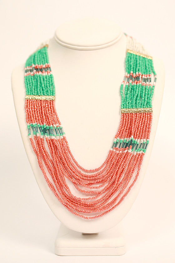 Boho Girl Necklace Coral