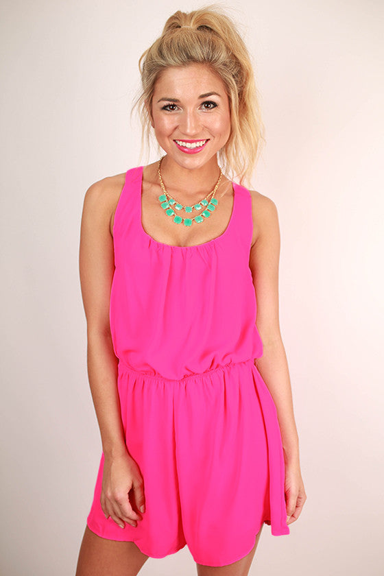 Chiffon, Please Romper Hot Pink