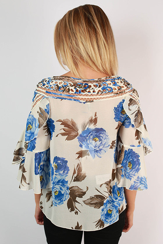 Floral Inspiration Top in Blue