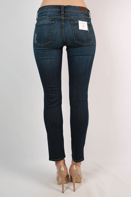 Destroyed Boyfriend Jean in Dark Blue