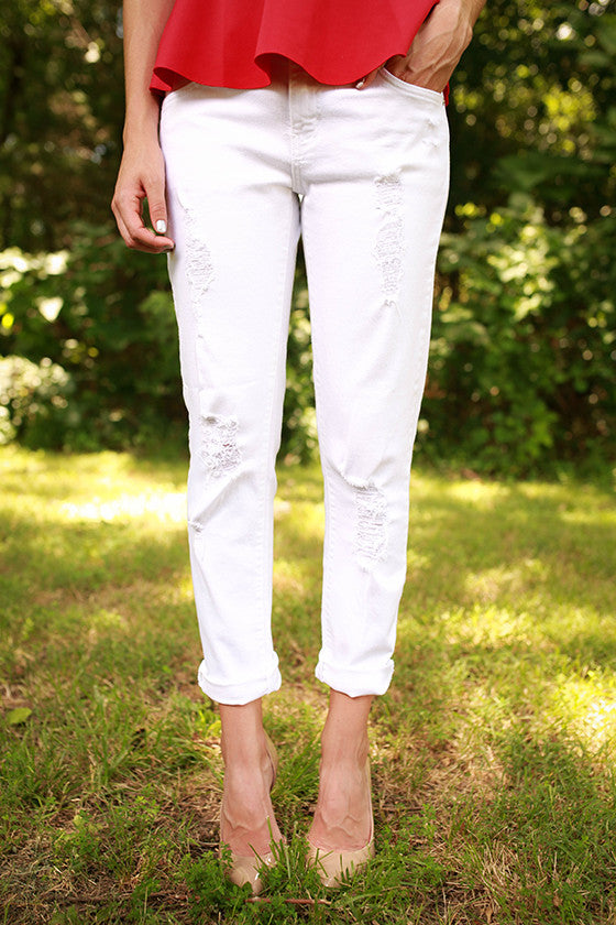 Distressed Boyfriend Jean in White