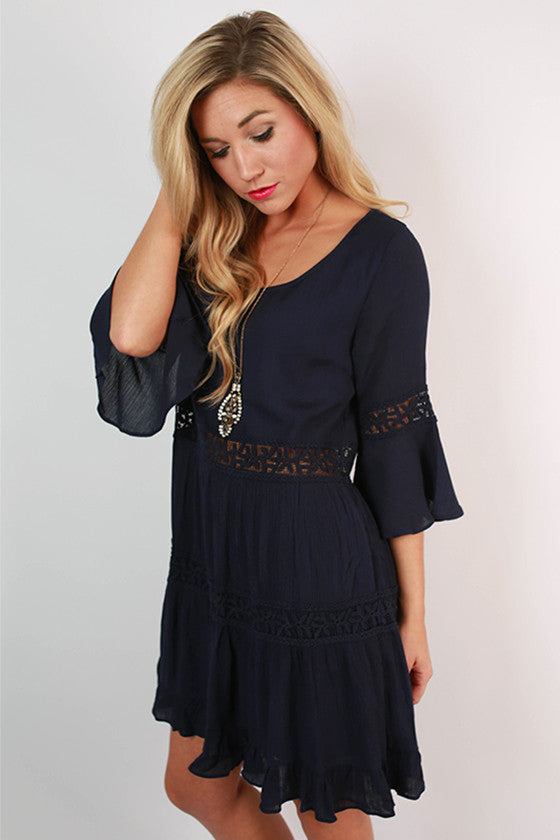 Diamond Doll Dress in Navy