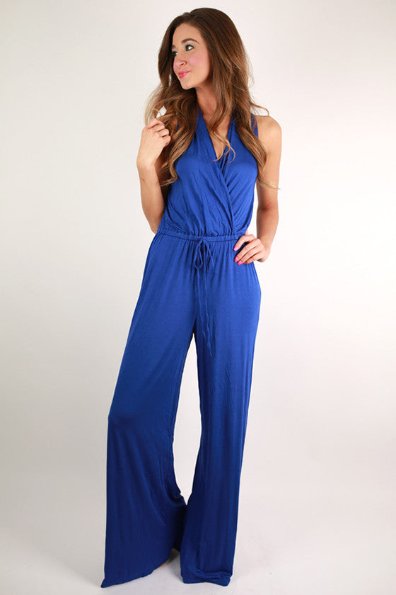 Keeping It Breezy Jumpsuit in Royal Blue & Tall