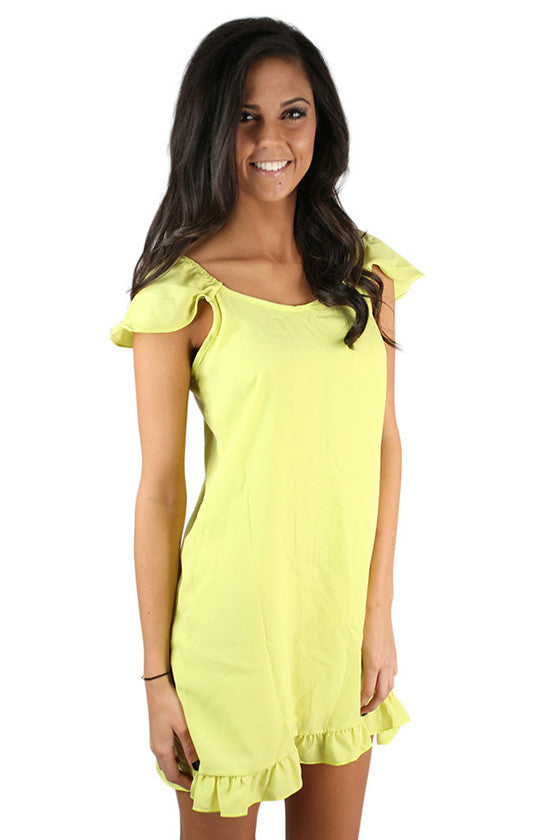 Center of Attention Dress Lime