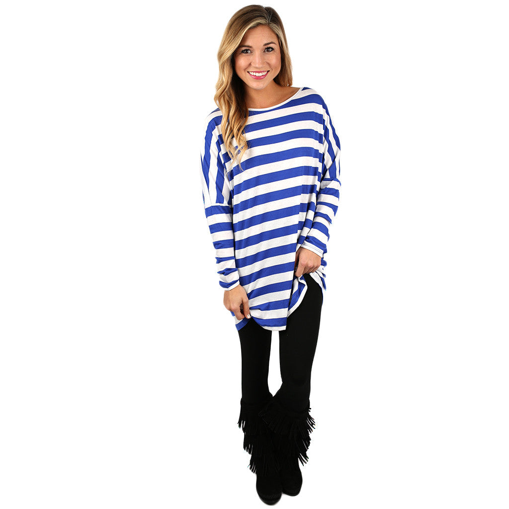 Chic Stripes Tee In Royal Blue