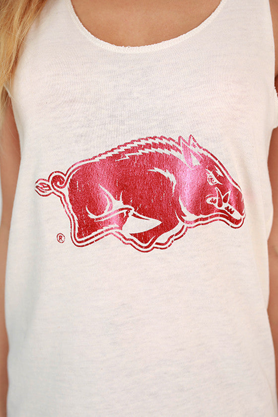 Eco Distressed Razorback Tank in Cream