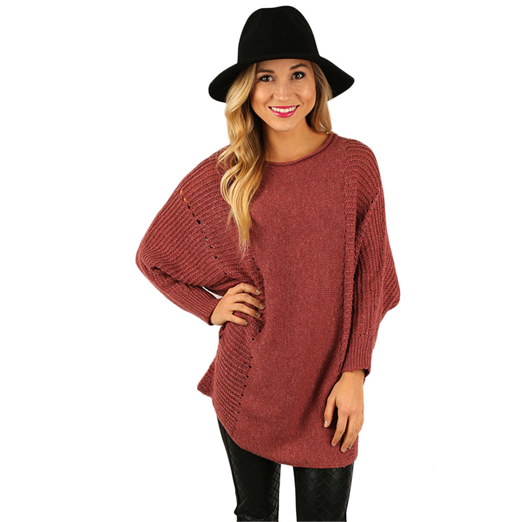 Just So Cozy Tunic Sweater in Rust