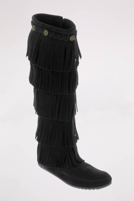 5-Layer Fringe Boot in Black