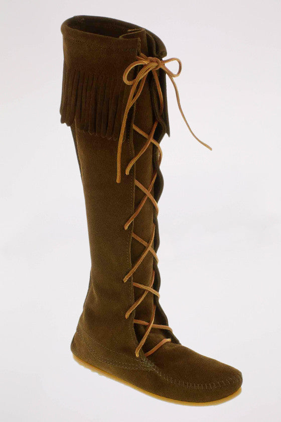 Front Laced Hard Sole Knee Hi Boot