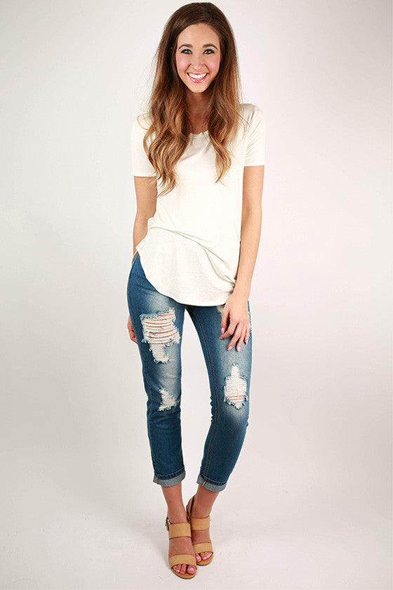 Roll Up Dark Distressed Denim