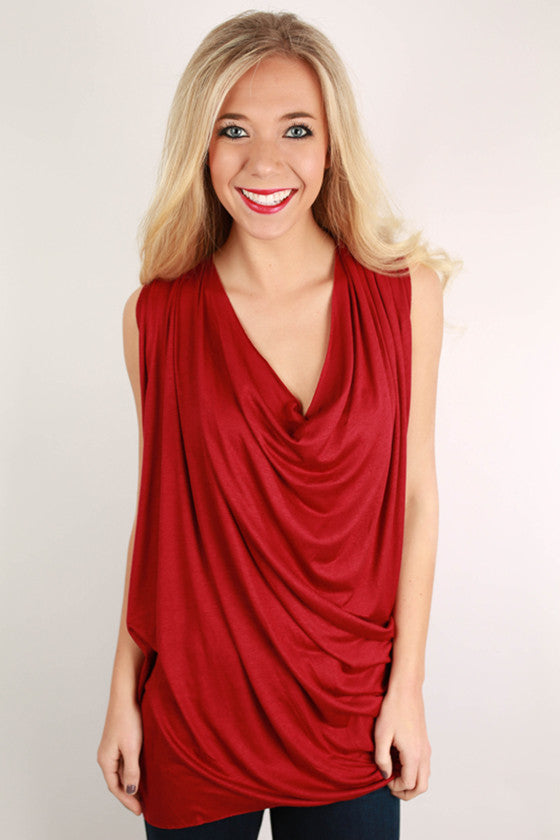 Draped to Perfection Top Burgundy