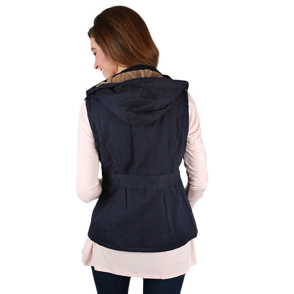 Lost in Paris Faux Fur Lined Vest in Navy