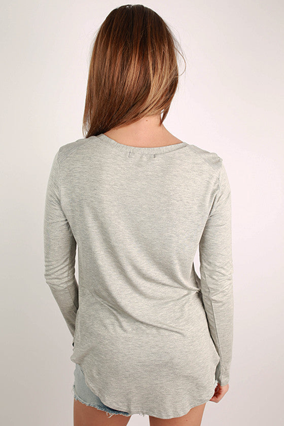 At First Crush Scoop Tee in Grey