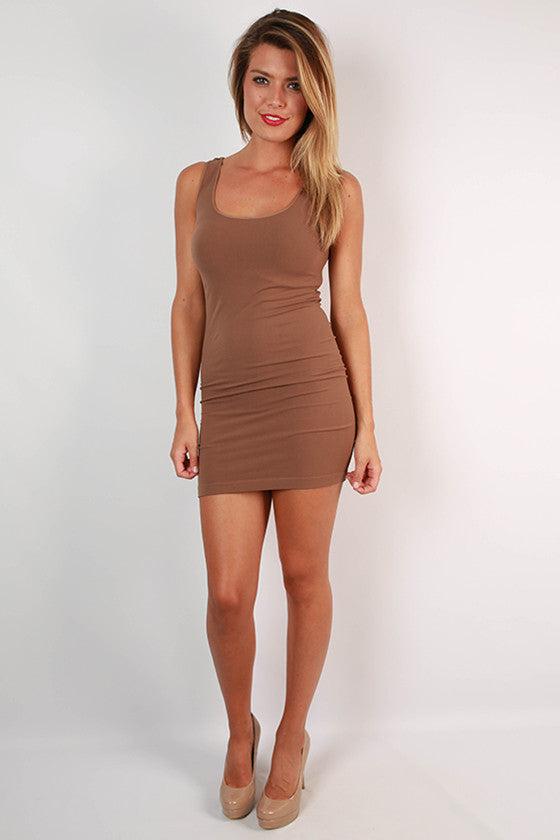 Seamless Jersey Tunic Tank Brown