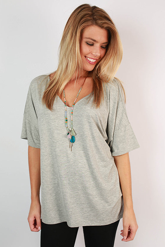 PIKO Relaxed Fit V-Neck Tee in Heather Grey