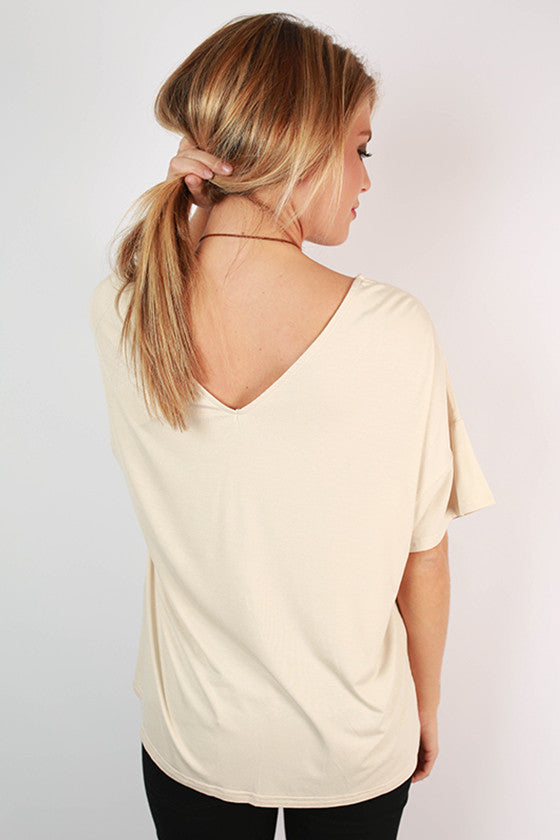 PIKO Relaxed Fit V-Neck Tee in Beige