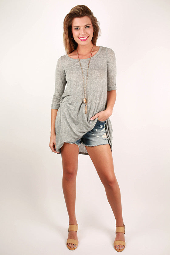 Yours Truly Tunic in Grey