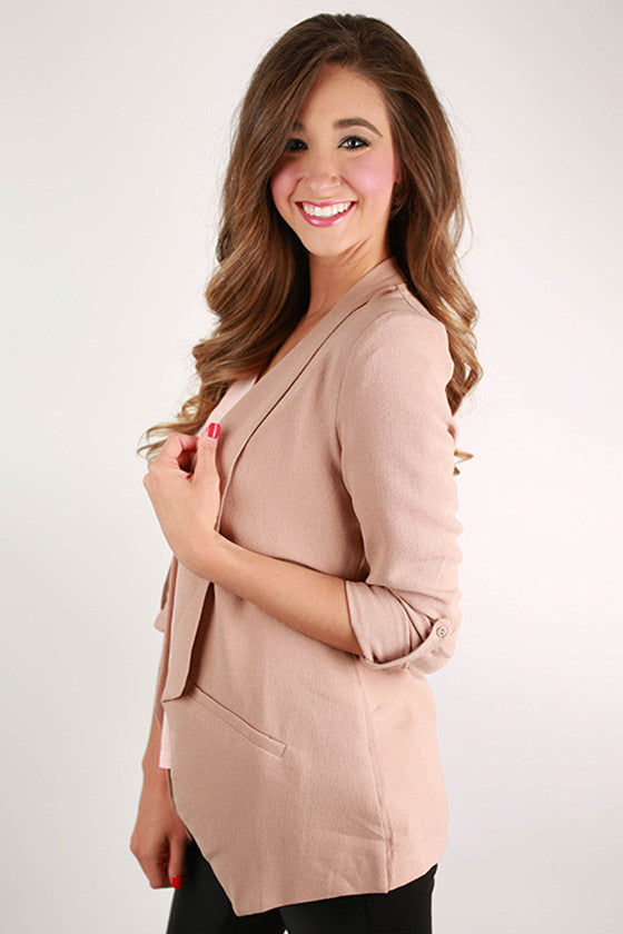 A Southern Girl Blazer in Nude