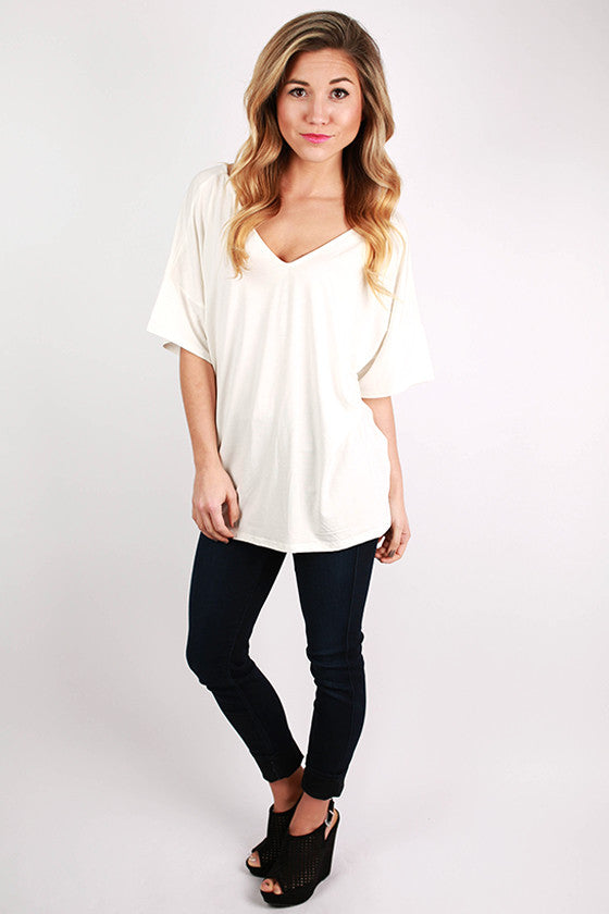 PIKO Relaxed Fit V-Neck Tee in Off White