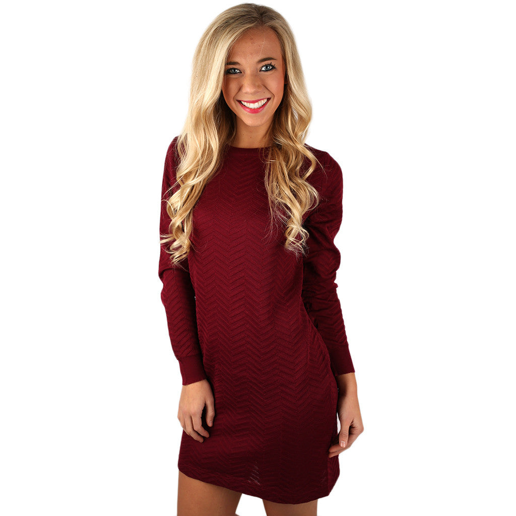 Weekend in Chicago Dress in Wine