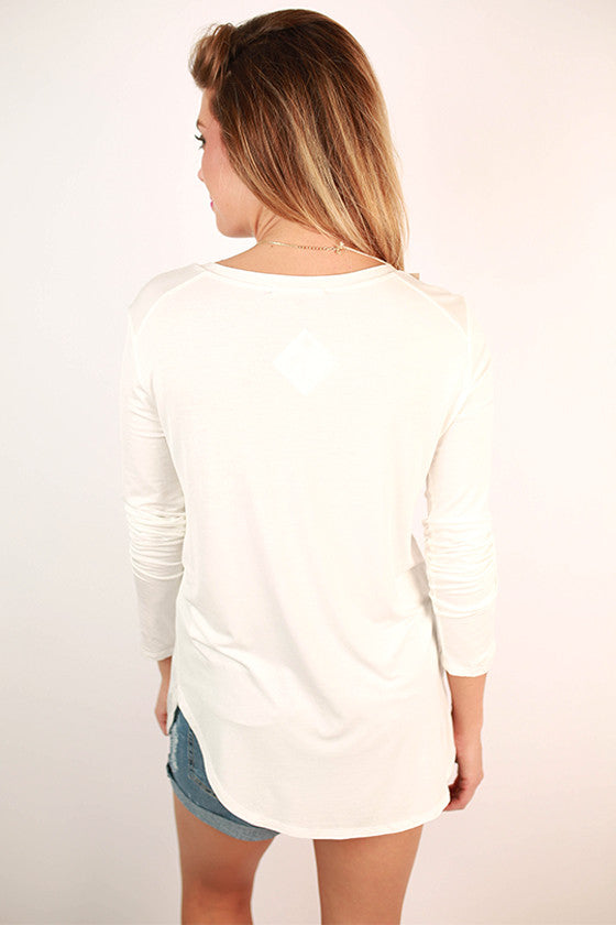 At First Crush V-Neck Tee in Ivory