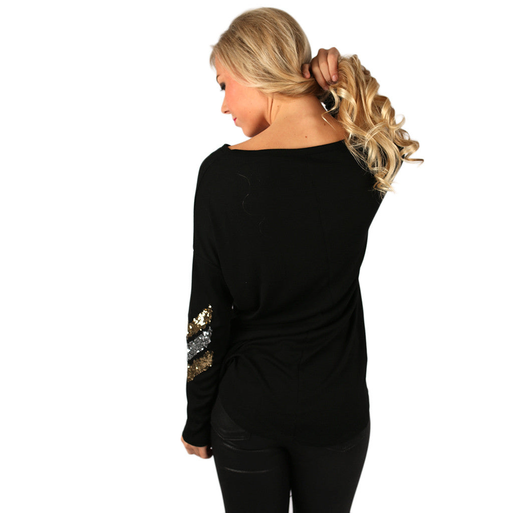 Champagne Sparkles Tee in Black