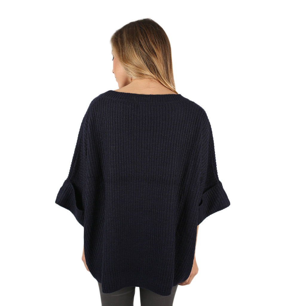 Autumn Love Knitted Top in Navy