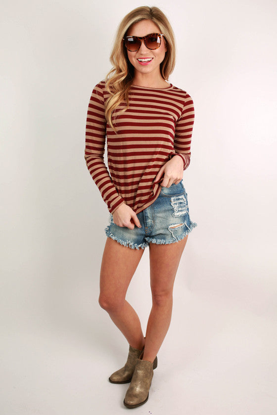 Happy Stripes Tee in Wine