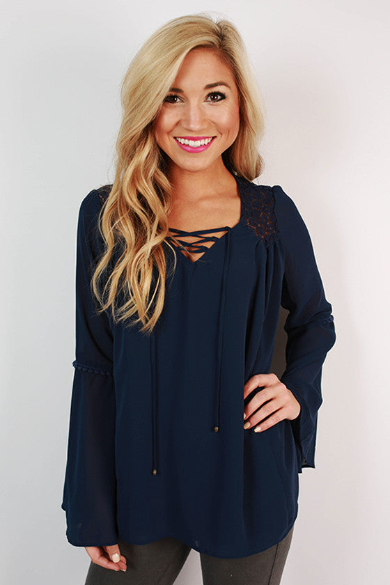 Wanna Go Shop Top in Navy