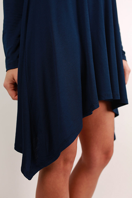 Flowy & Fab Long Sleeve Tunic in Navy