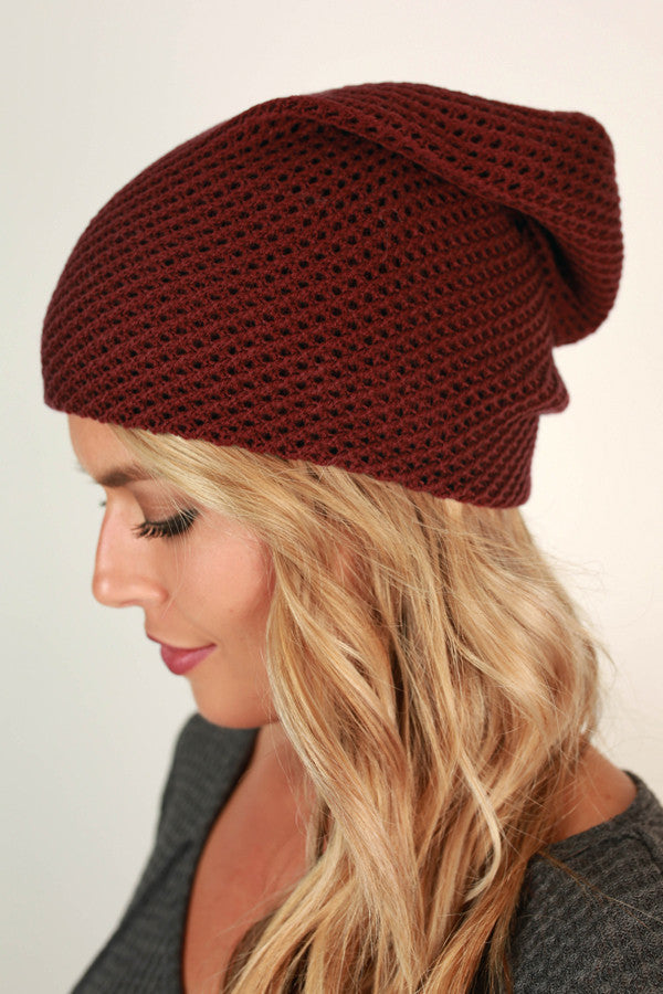 Aspen Afternoon Beanie in Wine