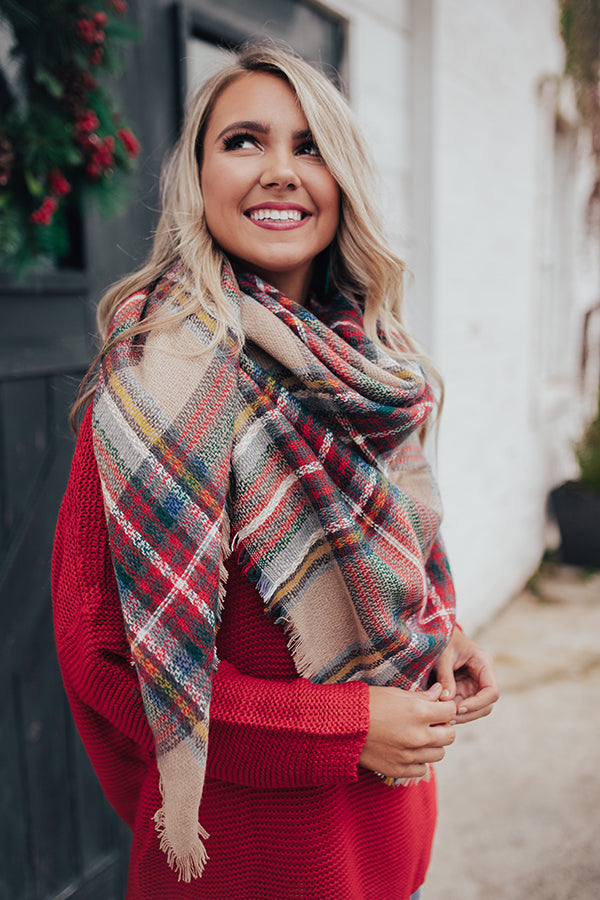 Cozy Love Blanket Scarf in Tan