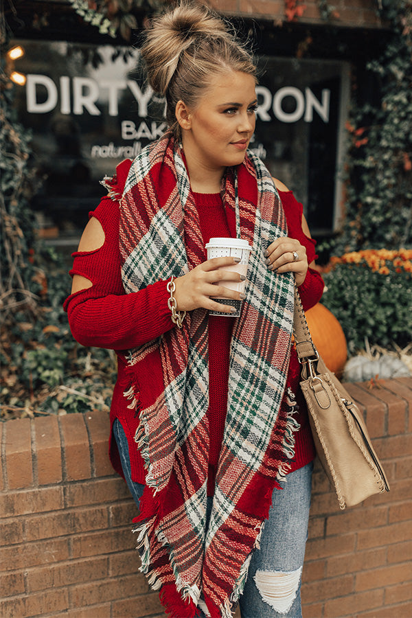 Cozy Love Blanket Scarf in Red