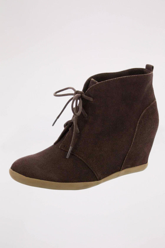 Lace-Up Hidden Wedge in Chocolate