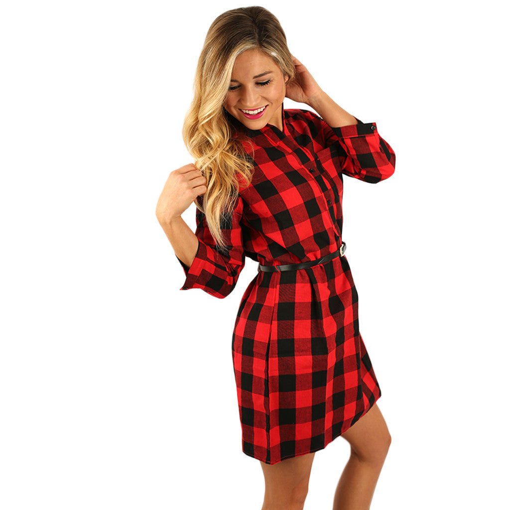 Smitten for Plaid Dress