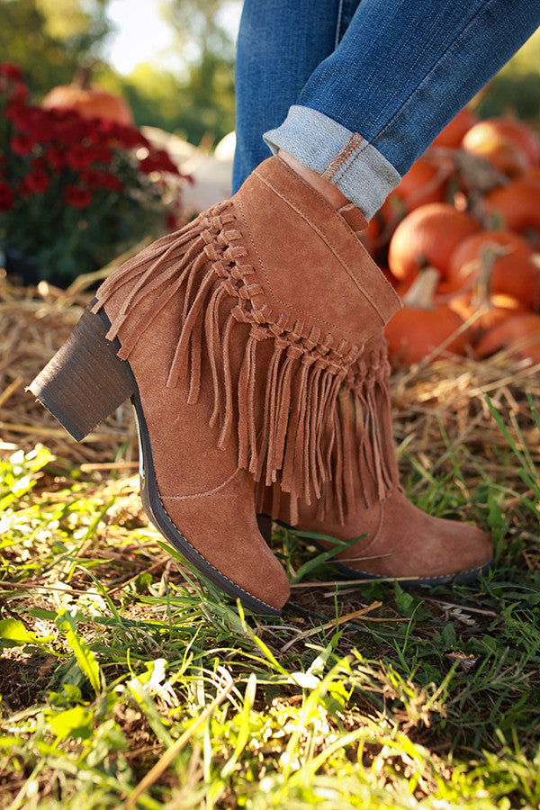 Sound Fringe Bootie in Brown