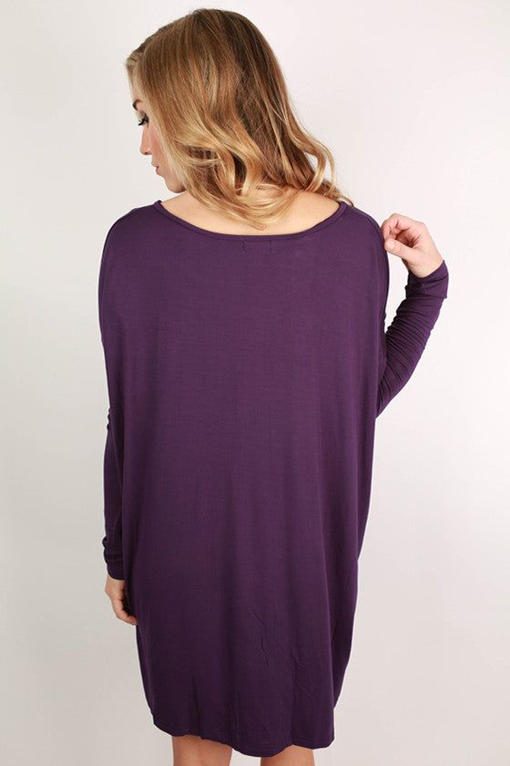 PIKO V-Neck Tunic in Dark Purple