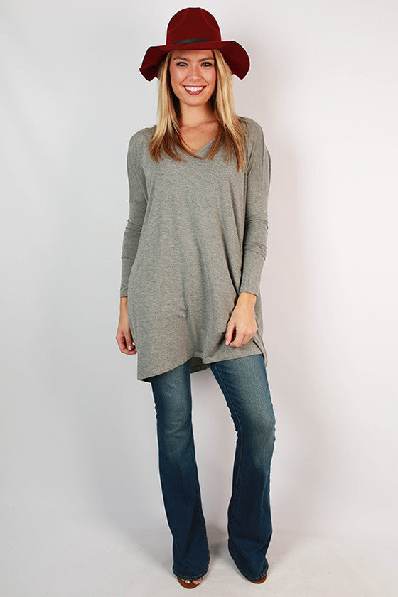 PIKO V-Neck Tunic in Dark Heather Grey