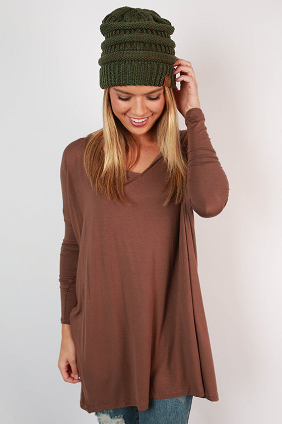 PIKO V-Neck Tunic in Brown