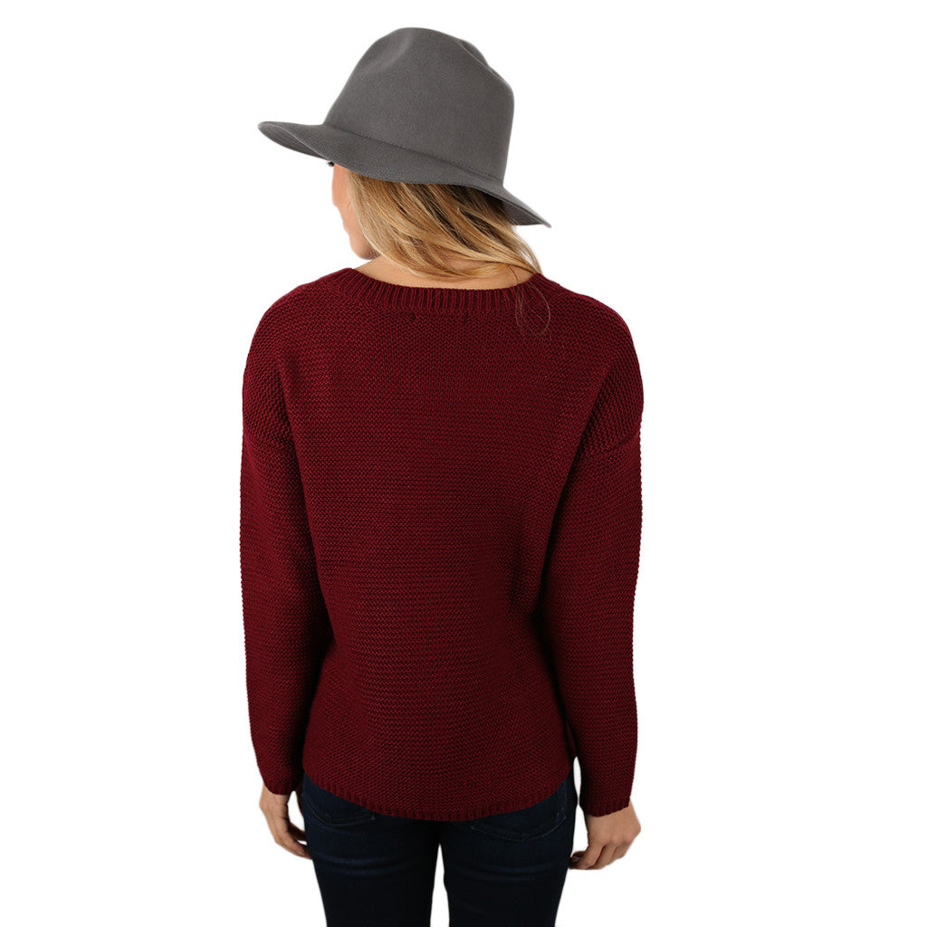 Vancouver Vacay Sweater Burgundy