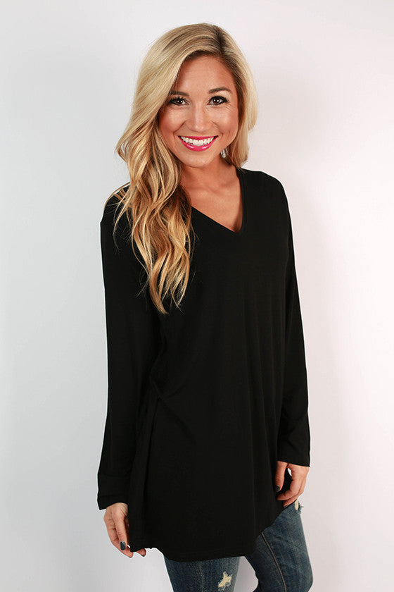 PIKO V-Neck Swing Tee in Black