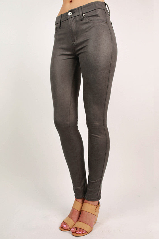 The Seamed Skinny in Dark Grey Leather
