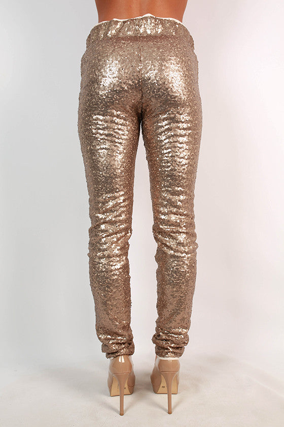 Swoon Worthy Sequin Leggings in Champagne