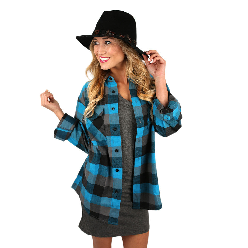 You Always Keep Me Cozy Unisex Flannel in Light Blue